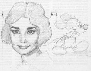 "Audrey Hepburn e Topolino!! (ai tempi di ""Sabrina"")."