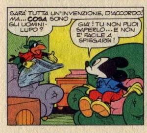 """Gancetto dimostra la sua ignoranza in """"Topolino e il Pippo-lupo""""."""