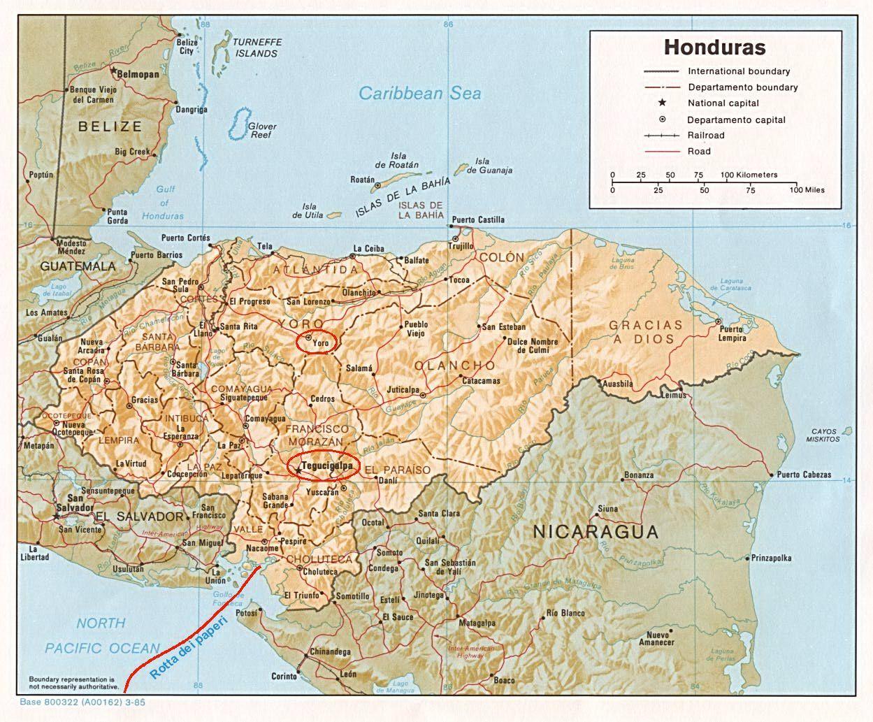 Mappa dell'Honduras con il percorso dei paperi