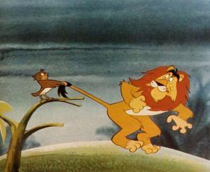 """""""Alcune immagini del film d'animazione """"Il quarto re"""", una favola natalizia che ha per protagonisti gli animali. Il passero e il leone raggiungono dopo molte peripezie la capanna di Betlemme per cantare il loro inno d'amore a Gesù."""""""