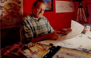 Il disegnatore veneziano Romano Scarpa al suo tavolo di lavoro. Scarpa è apprezzato non soltanto per la qualità del suo tratto e delle storie che ha inventato, ma soprattutto per la sua creatività che ha dato vita a diversi personaggi oggi popolari anche negli USA: Brigitta, Trudy, Filo Sganga, Gancio, Paperetta Yè Yè e altri.