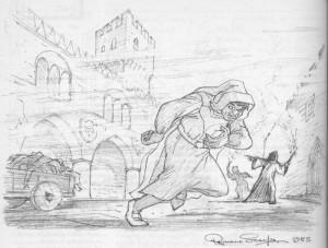 """Bozzetto per un cartone animato in stile realistico mai realizzato, """"La figlia del mercante"""", ambientato nella Venezia del 300."""